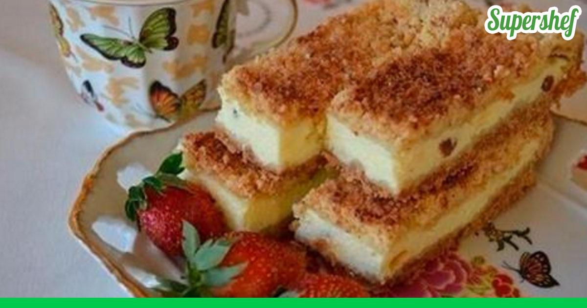 Открытый песочный пирог с творогом рецепт с фото пошагово