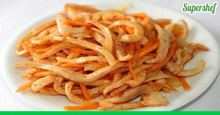 Салат из щупальцев кальмара рецепт очень вкусный