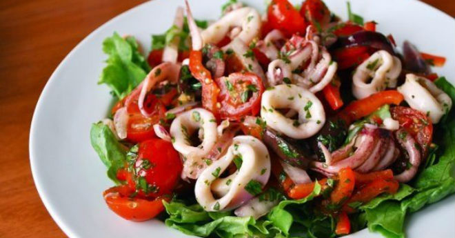 Салат из кальмар рецепты в духовке